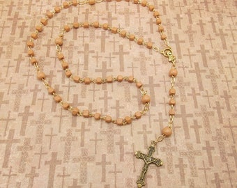 Wood Bead Rosary - Light Brown Painted Wood Beads with Gold Accents - Crucifix - 5 Decade