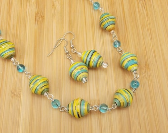 Rwandan Paper Bead Necklace and Earring Set - Aqua Blue and Yellow Stripes - Upcycled - Hand-Rolled Beads