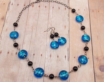 Necklace & Earring Set - Bright Capri Blue with Black Stripes - Silver Foil Lined - Gunmetal