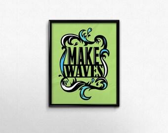Green Dorm Art Print College Office Decor Waves Surfer Art Motivational Wall Bedroom Decor