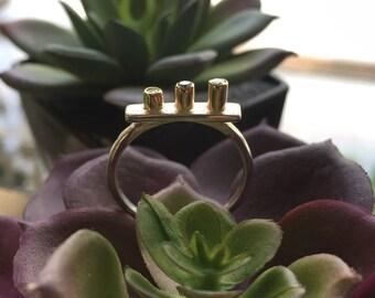 Textured sterling silver Farrah gemstone ring