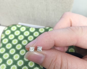 Sterling silver 3mm diamond stud earrings- MADE TO ORDER