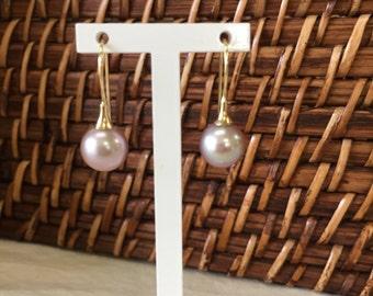 14k natural pink pearl drop earrings