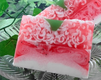 Strawberries and Cream Soap made with Shea Butter - Glycerin Soap - Handmade Soap - Spring Soap -Strawberry Soap - Artisan Soap - SoapGarden