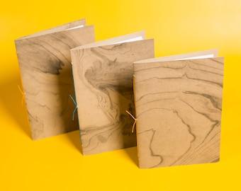 Kraft Jotter Notebook | Hand-Suminagashi Marble, Pamphlet Stitch, Assorted, Handmade Notebook