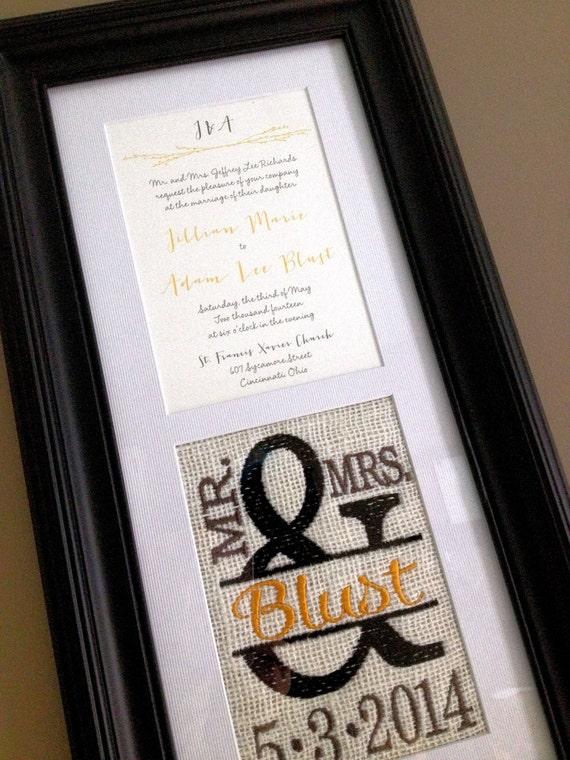 Custom Embroidered Framed Wedding Invitation Keepsake | Etsy