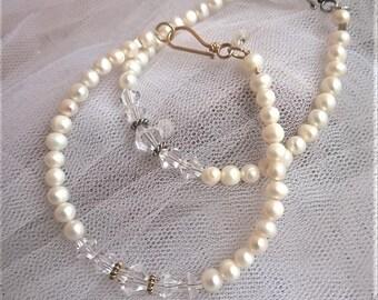Bridal Bracelet EMILY-Pearl,Swarovski Crystal,Sterling Silver,Gold Vermeil Bridal Bracelet