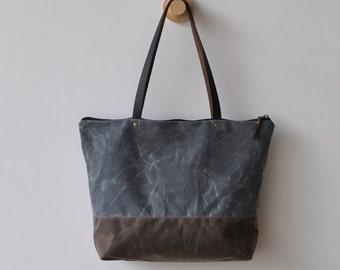 ZIP - charcoal/dark oak waxed canvas