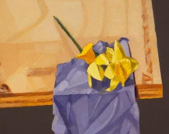 Daffodils on Fabric Scrap - Original Painting