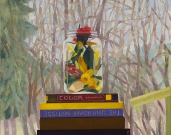 Jar of Flowers on Books in Window - Original Painting