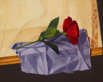 Red Rose on Fabric Scrap - Original Painting