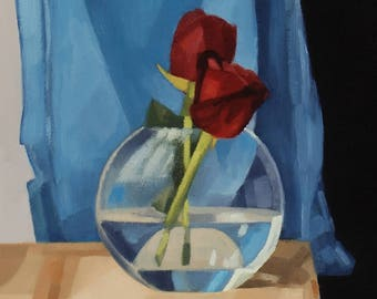 Two Red Roses - Original Painting