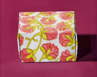 Paper Box with Pink Flowers - Original Painting
