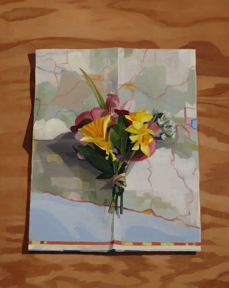 Flowers on Map 1  Original Painting image 0