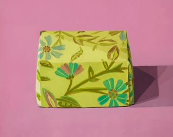 Paper Box with Turquoise Flowers - Original Painting