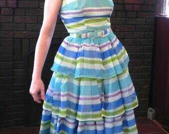 Fabulous Vintage 50s Party Dress 1950s H Bar C Striped Cha cha Rockabilly Dress Sm