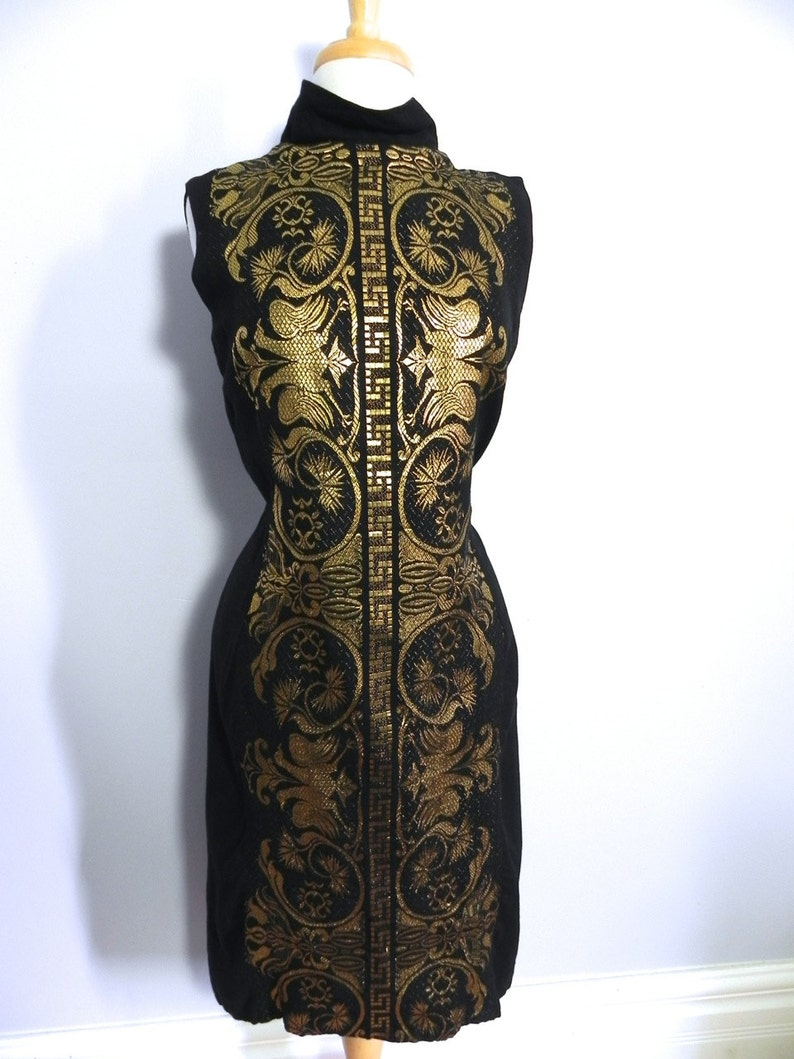 Vintage Gold Embroiderd Black Linen Dress with Matching Shawl Wrap Med Lg
