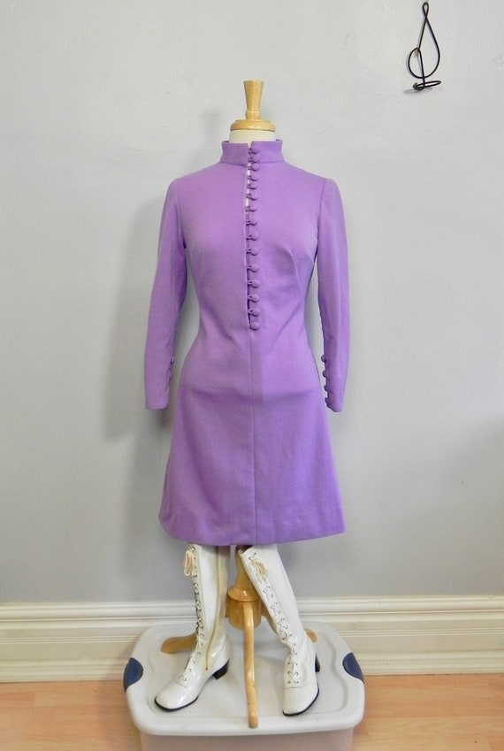Vintage 1960s Purple Mandarin Collar Mod Dress - 6