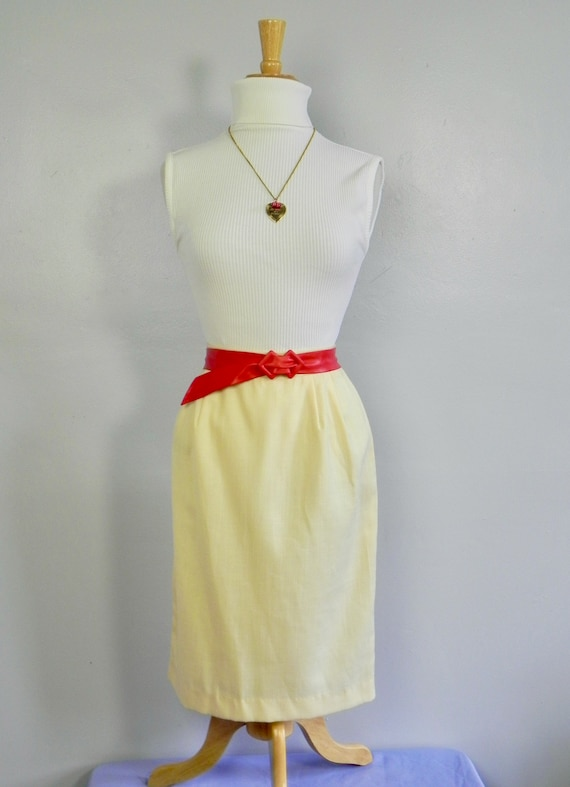 Vintage Butter Yellow Wiggle Skirt , Pinup Pencil… - image 1