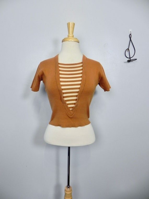 Vintage 50s Sweater Top , Striped Knit Fitted Beat