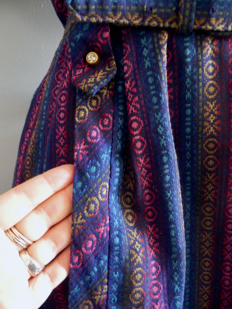 Vintage Plus Size Dress 40s 50s Dress Dark Rainbow Stitched Stripes Dress Rhinestone Buttons Lg XL