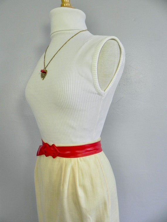 Vintage Butter Yellow Wiggle Skirt , Pinup Pencil… - image 6