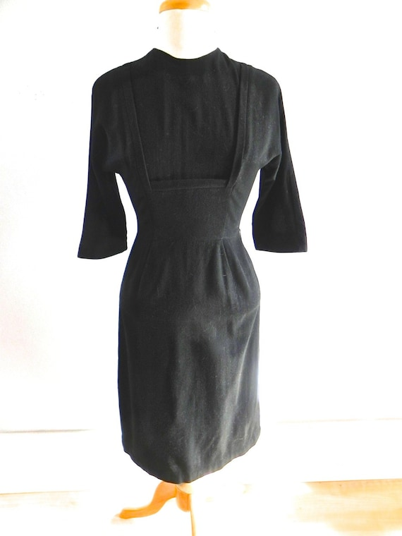 Vintage 1950s wiggle Dress - 50s Black Wool Wiggle