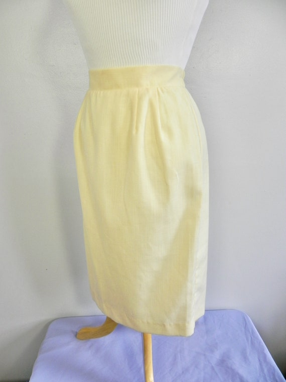Vintage Butter Yellow Wiggle Skirt , Pinup Pencil… - image 3