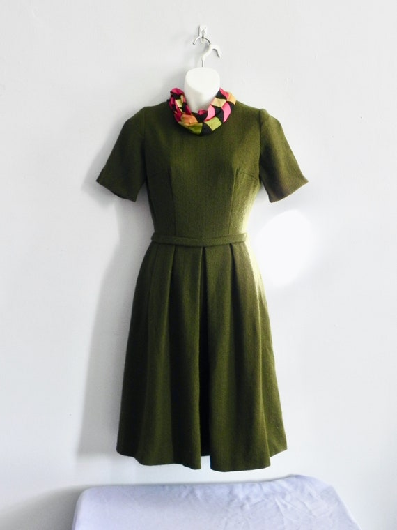 Vintage 60s Avocado Green Dress Wool Dress with Fu