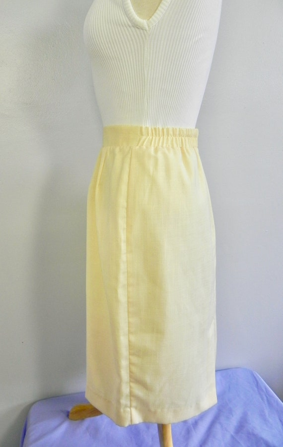 Vintage Butter Yellow Wiggle Skirt , Pinup Pencil… - image 8