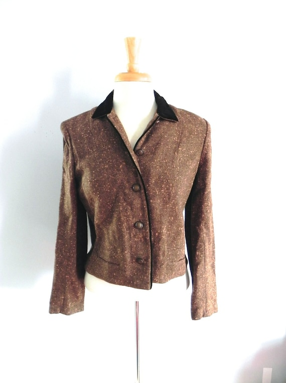 Vintage 1950s Fleck Jacket - 40s 50s brown with or