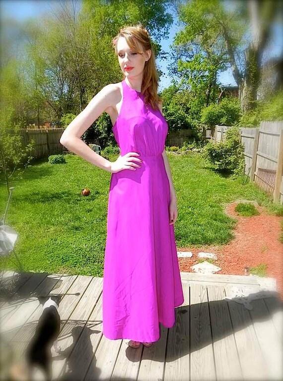 Vintage 1960s maxi Dress / Electric Purple Vintage