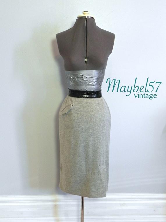 Vintage 50s Wiggle Skirt - 50s Grey Fleck Wool Cas