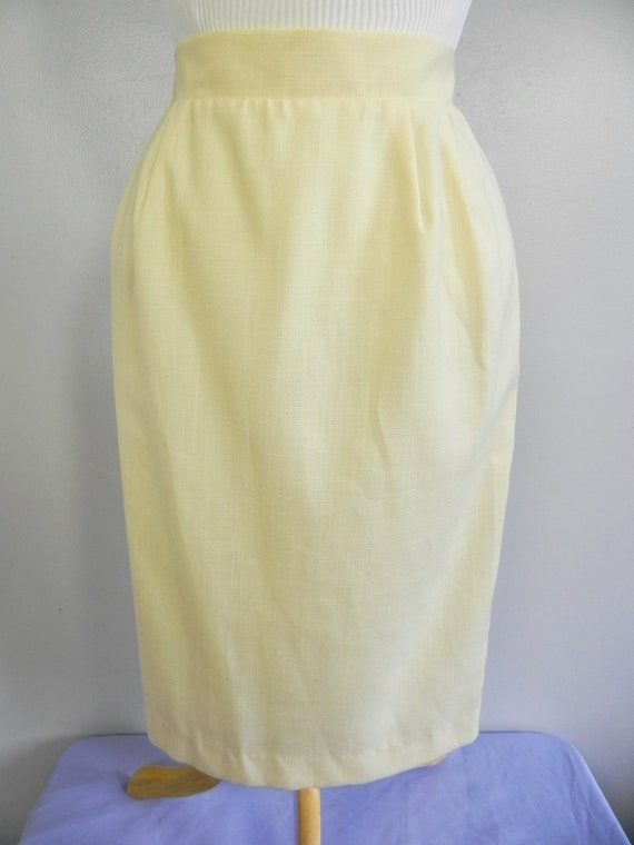 Vintage Butter Yellow Wiggle Skirt , Pinup Pencil… - image 2