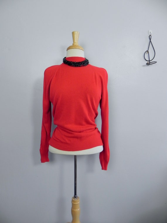 Vintage 60s Zip Back Bright Red Sweater Top , Soft