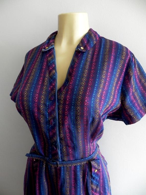 Vintage Plus Size Dress 40s 50s Dress , Dark Rainb