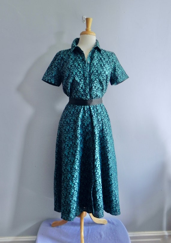 Vintage Dress 50s style Teal Cut-out Lace Dress wi