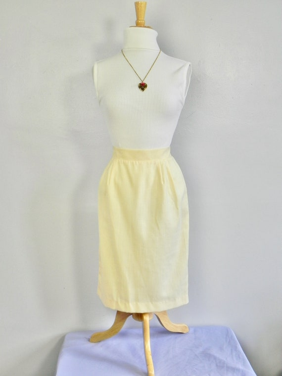 Vintage Butter Yellow Wiggle Skirt , Pinup Pencil… - image 4