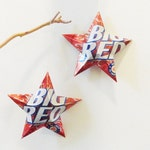 Recycled Big Red Soda Can Aluminum Stars - Set of 2 Christmas Ornaments