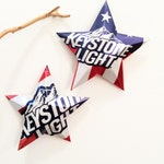 Keystone Light Beer Red White Blue Stars Christmas Ornaments Aluminum Can Upcycled