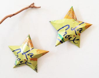 La Croix Choice of Flavors: Curate, Lime, Berry, Coconut, Orange, Lemon,Sparkling Water Stars, Christmas Ornaments, Aluminum Can Upcycled