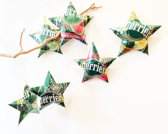 Perrier Sparkling Water Stars, Christmas Ornaments, Aluminum Can Upcycled, Peach, Lime, Strawberry, Apple, Watermelon, Orange
