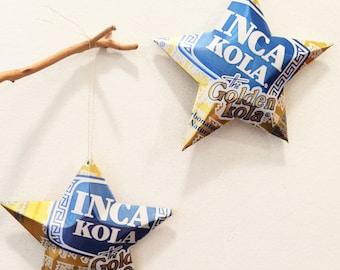Inca Kola, Golden Kola, Peruvian Cola, Recycled Aluminum Can, Christmas Ornament Stars