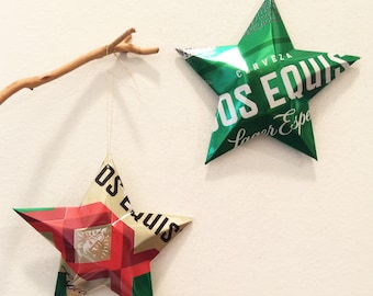 Dos Equis Cerveza Lager Especial XX Beer Stars Gift Toppers Ornaments Aluminum Can Upcycled