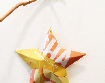 AHA Sparkling Water Recycled Aluminum Can,Christmas Ornament Stars