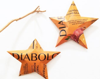 Diabolo Tangerine Pomegranate Soda, Unique Gift Bow, Package Tie-on, Christmas Stars, Upcycled Repurposed