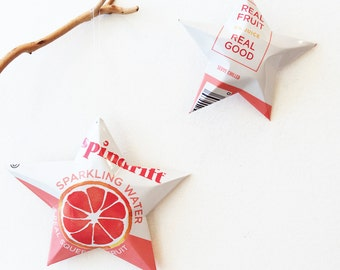 Spindrift Choice of Flavors Sparkling Water Ornament ,Aluminum Can Upcycled Repurposed, Real Fruit, Real Good