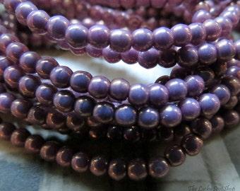 NEW Tiny Lavender Lust Druks . Czech Fire Polished Glass Beads (50) 3 mm