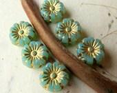 New GOLDEN SEAFOAM BLOSSOMS . Czech Metallic Glass Flower Beads . 8 mm (10 beads) . Supplies for Jewelry Making