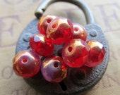 SWIRLED FUSCHIA RONDELLES . Czech Metallic Glass Beads (10 beads) 6 mm by 8 mm . Supplies for Jewelry Making